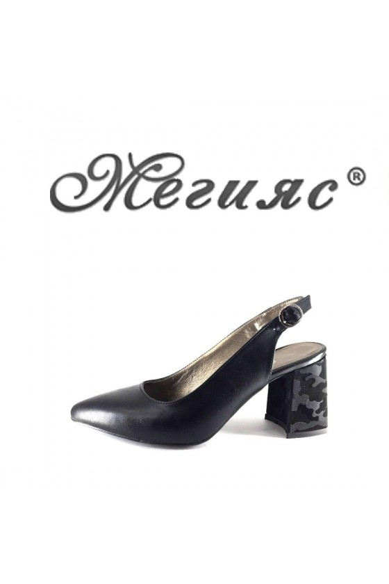698 Дамски сандали черни еко кожа елегантни остри висок ток
