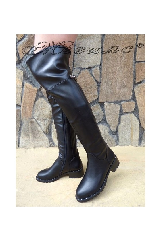 SONIA 19-1201 Women long boots black pu