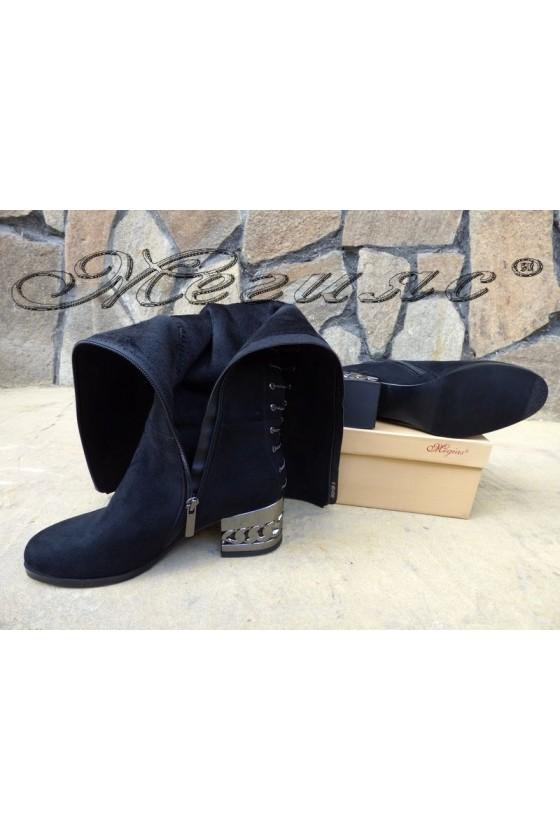 Дамски чизми от велур със среден ток черни SONIA 19-1206
