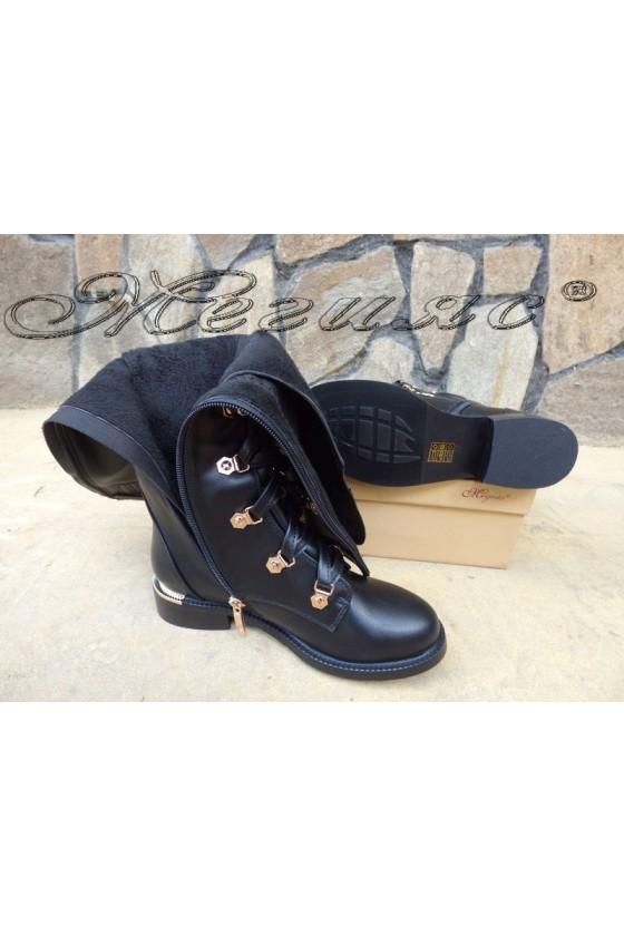 Дамски ботуши черни от еко кожа ежедневни SONIA 19-1203
