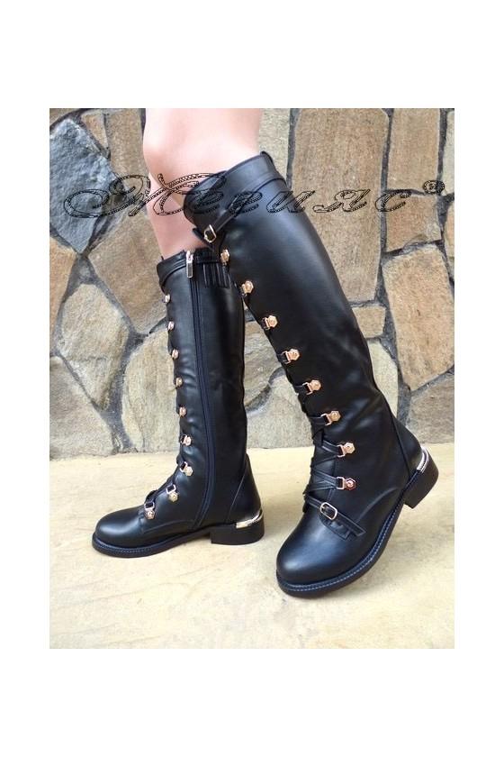 Дамски ботуши черни от еко кожа ежедневни