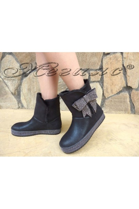 SONIA 19-1222 lady boots black pu with stones