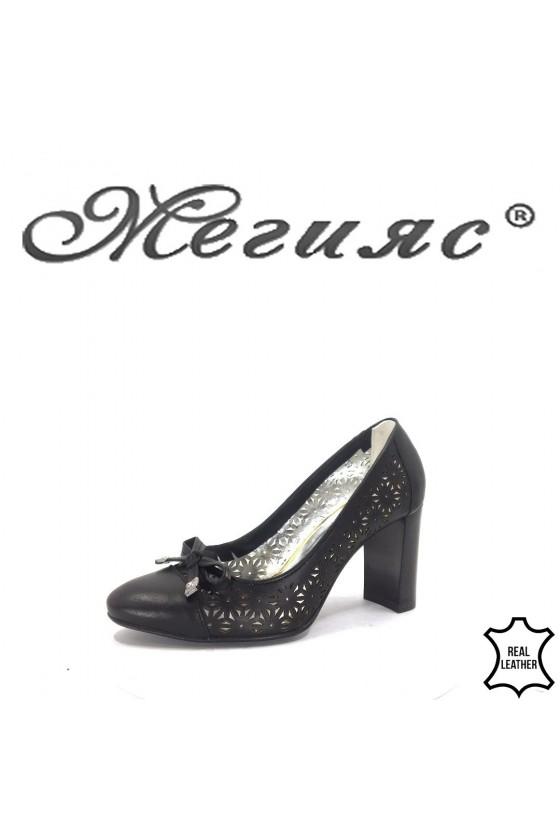 2013-01 Дамски обувки черна кожа на широк ток