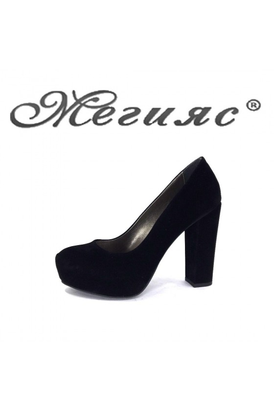 219 Lady shoes black suede high heel