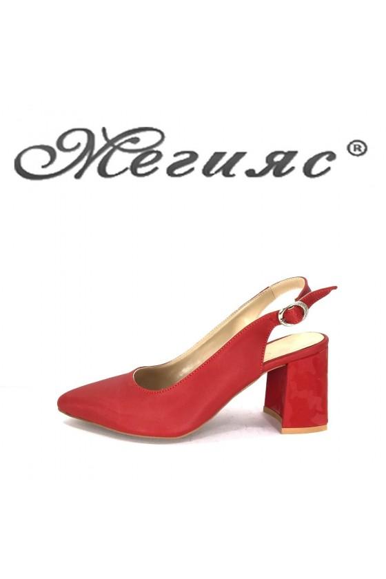 698 Дамски сандали червени еко кожа елегантни остри висок ток