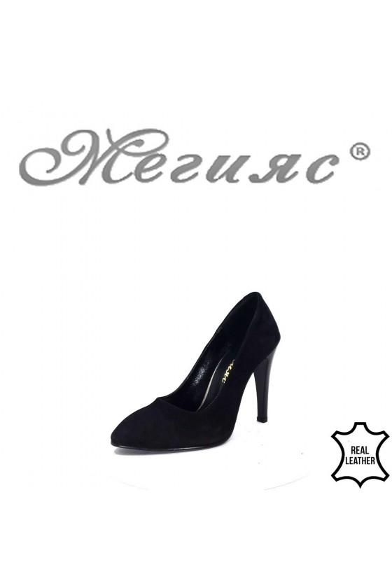 80-6 Дамски елегантни обувки черни от естествен велур