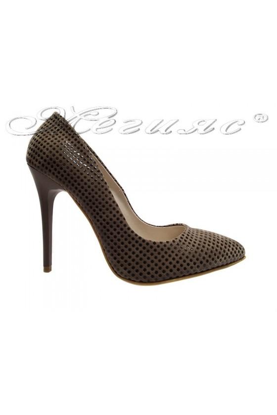 Дамски обувки 1907 бежови елегантни остри висок ток еко кожа