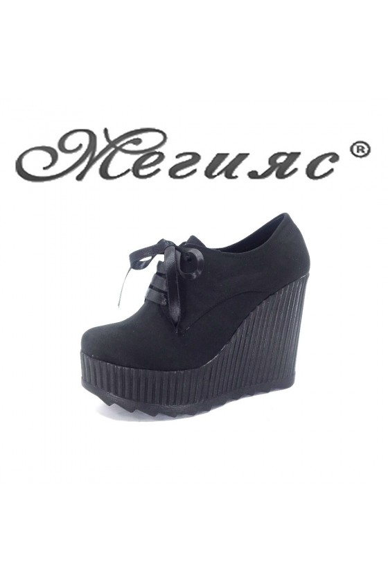Дамски изчистени обувки на платформа велур черни