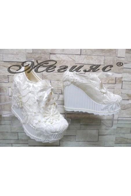 710-11 Lady platform shoes white pu
