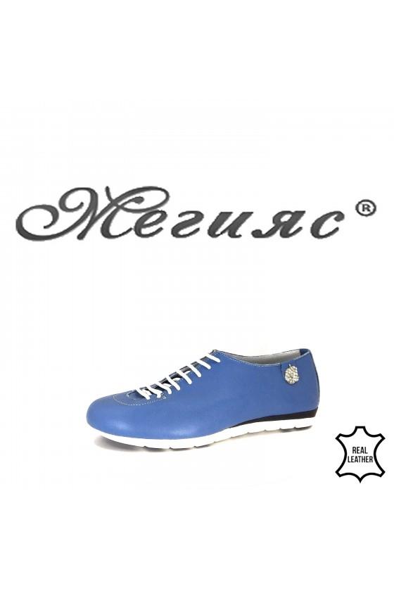 Дамски спортни обувки 3116 светло сини от естествена кожа