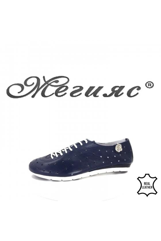 3116 Дамски спортни обувки сини на дупки естествена кожа