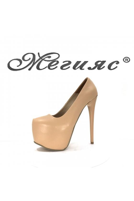 50 Дамски обувки бежови еко кожа елегантни заоблени висок ток