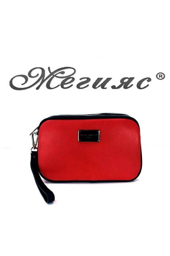5666 Дамска чанта спортно-елегантна червена еко кожа с дълга дръжка