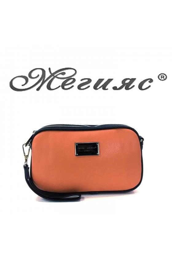 5666 Дамска чанта спортно-елегантна коралова еко кожа с дълга дръжка