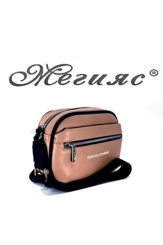 6208 Дамска спортна чанта бежова  еко кожа с дълга дръжка