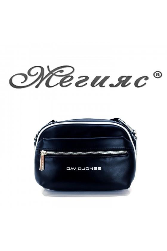 6208 Дамска спортна чанта черна еко кожа с дълга дръжка