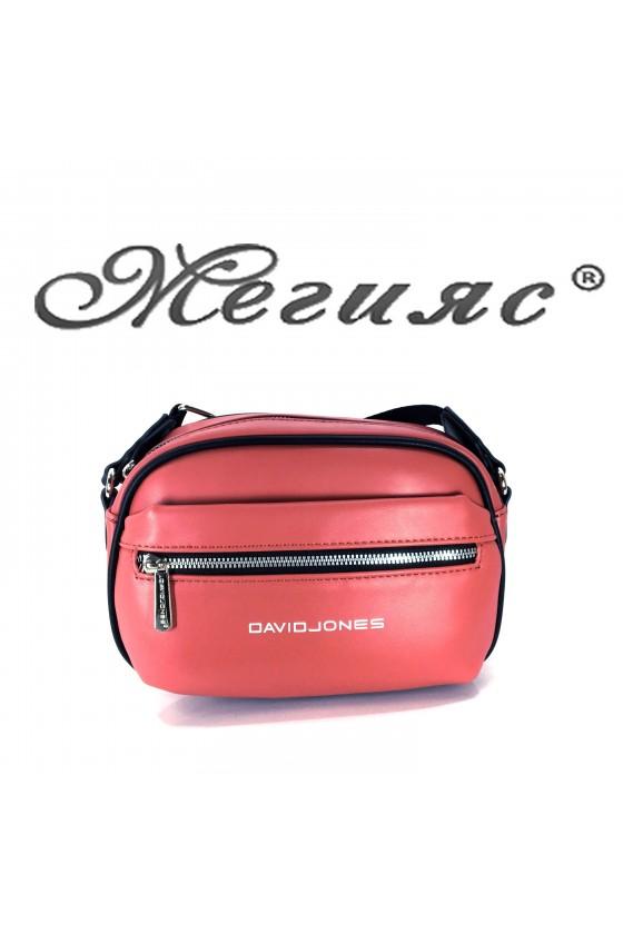 6208 Дамска спортна чанта коралова еко кожа с дълга дръжка