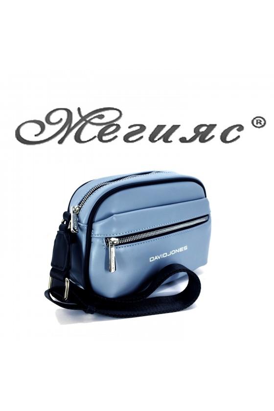 6208 Дамска спортна чанта светло синя еко кожа с дълга дръжка