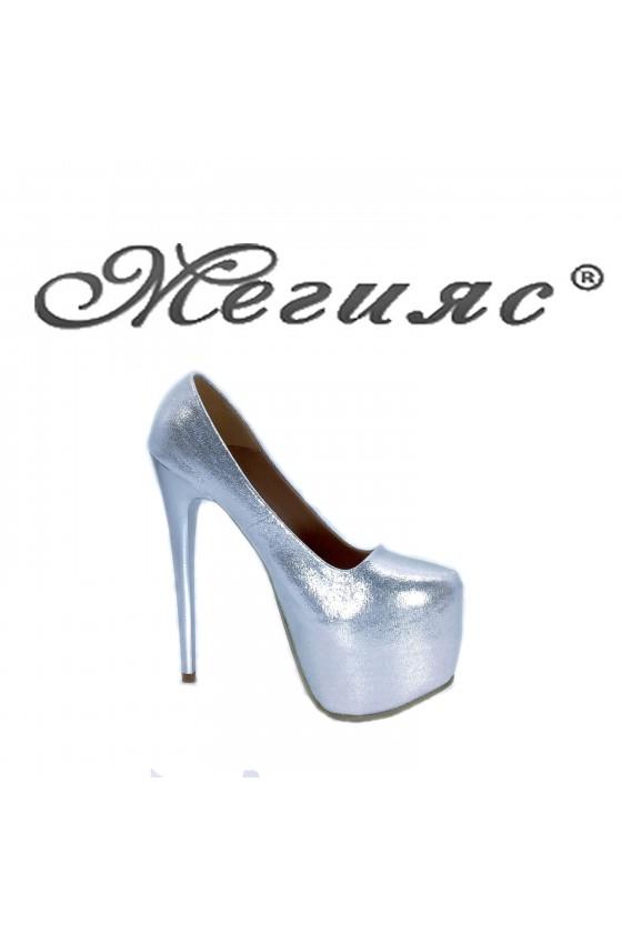 50 Дамски обувки сребърни текстил елегантни заоблени висок ток