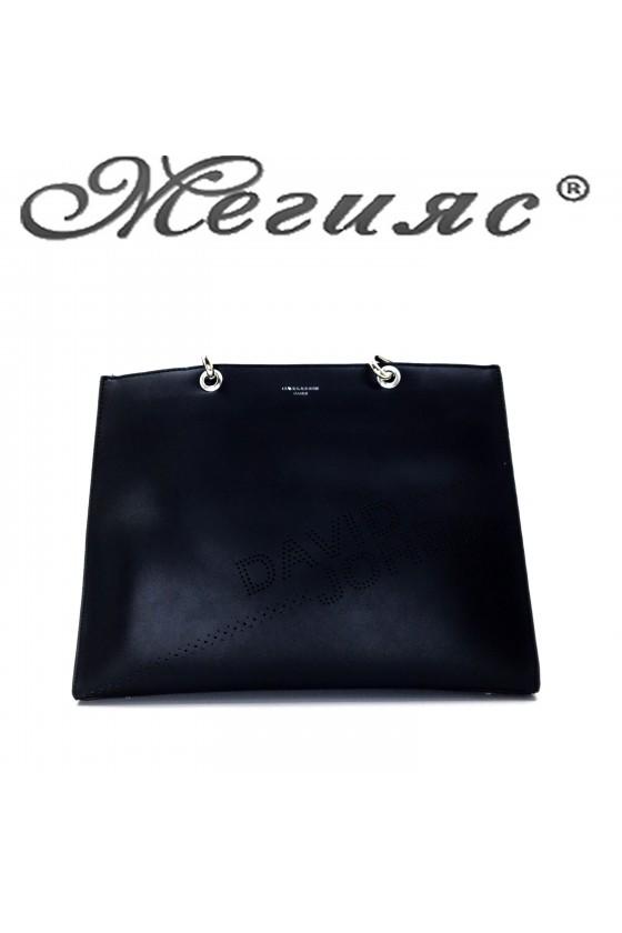 6223 Дамска чанта спортно-елегантна черна еко кожа