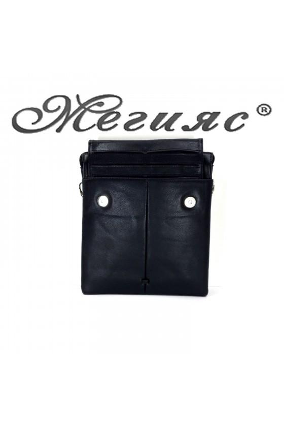 888 Мъжка чанта черна еко кожа с прикачен визитник