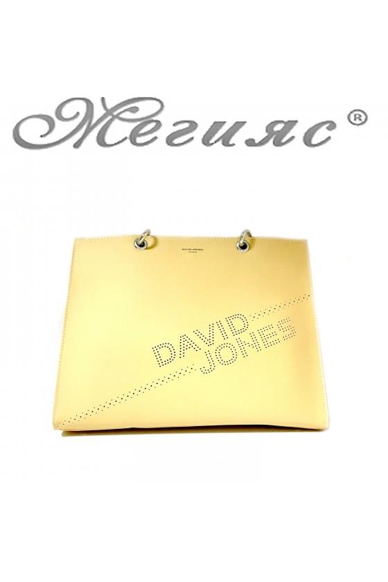 6223 Дамска чанта спортно-елегантна жълта еко кожа