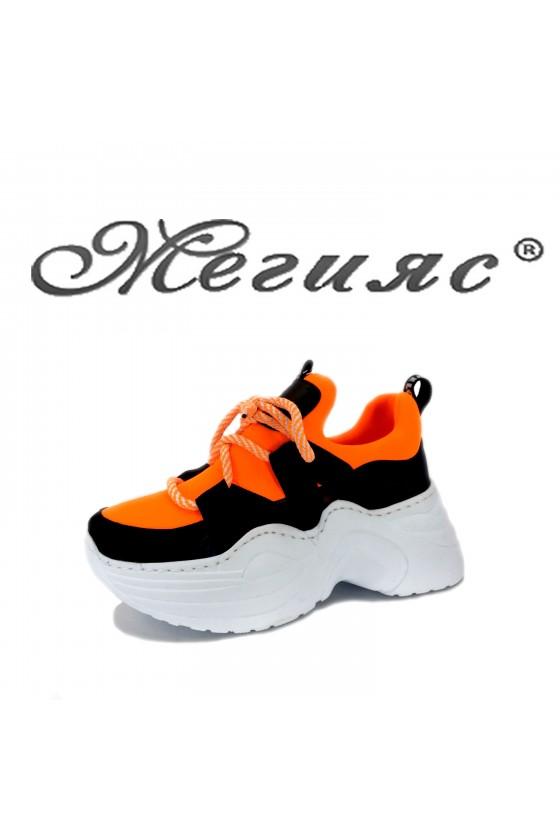 2028 Дамски спортни обувки оранжев електрик