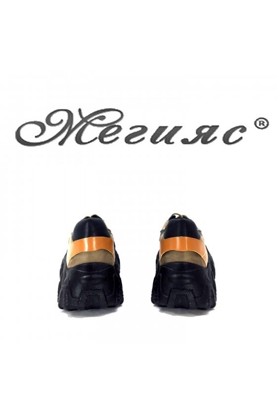 Дамски обувки спортни черно с бежово и кафяво от еко кожа 02-1