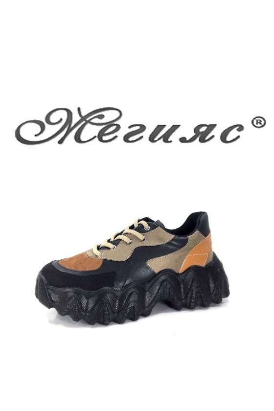 02-1 Дамски спортни обувки черно с бежово и кафяво