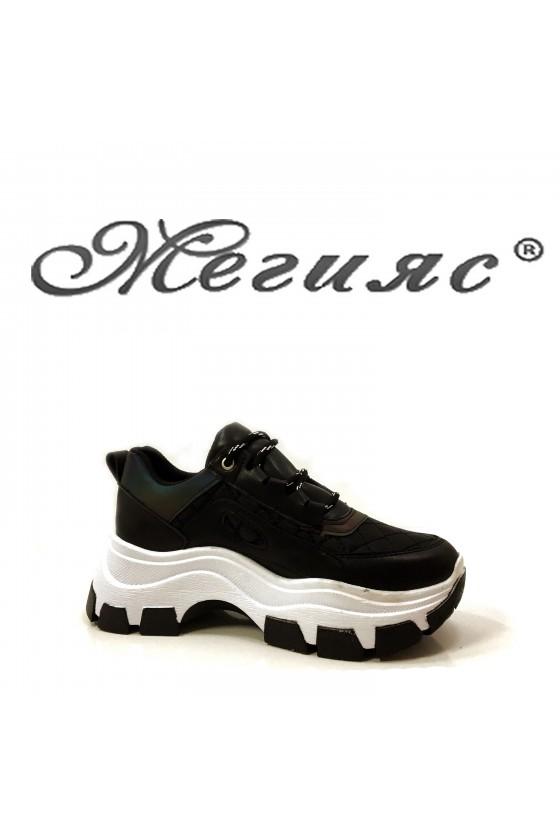 Дамски обувки спортни черен текстил с еко кожа 3131