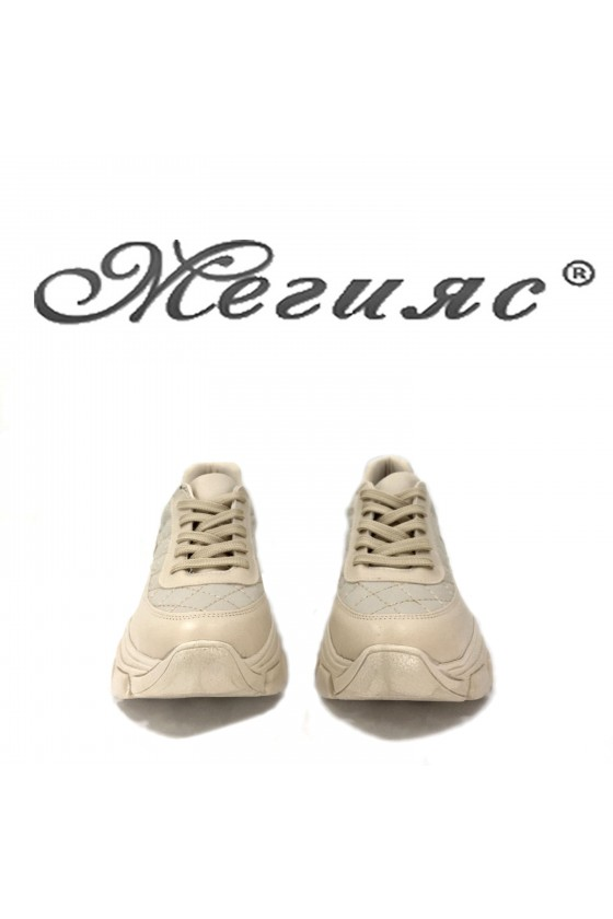Дамски обувки спортни бежови от еко кожа 3138