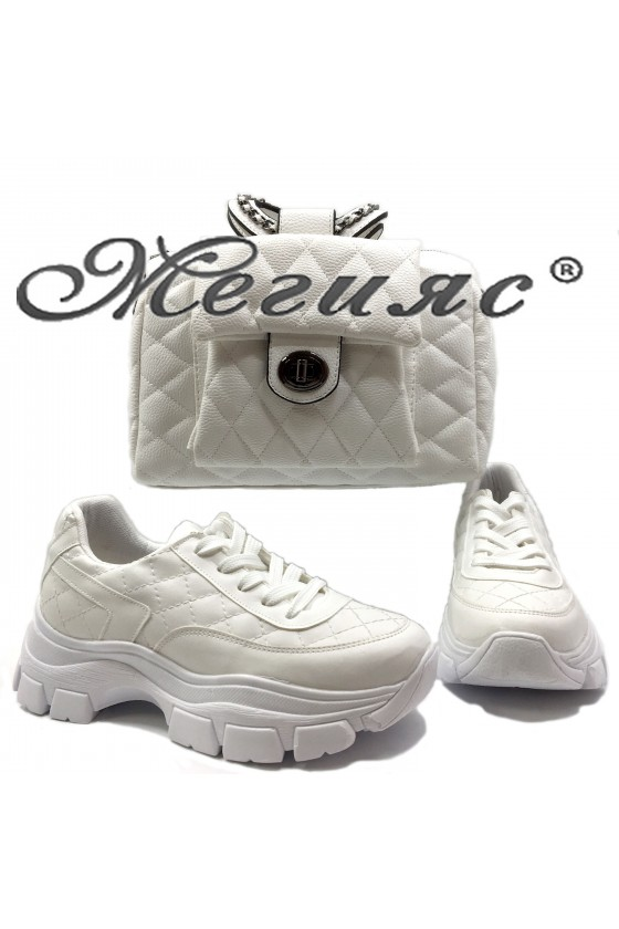 3138 Lady sports shoes and bag 279 white pu