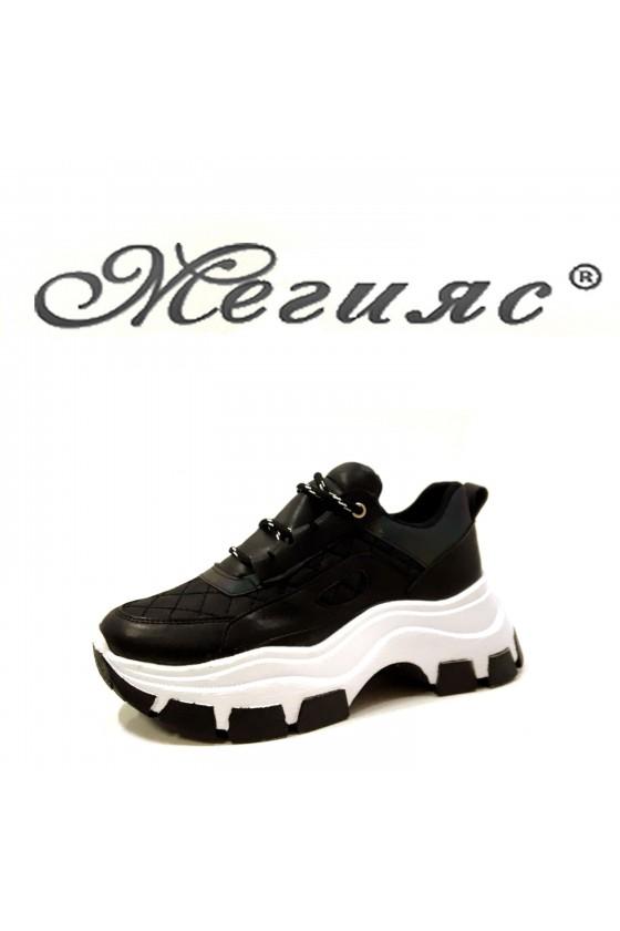 3131 Дамски спортни обувки черен текстил с еко кожа