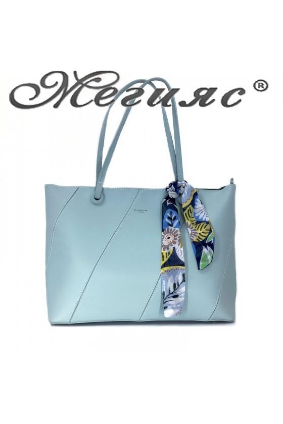5911 Дамска чанта спортно-елегантна мента еко кожа