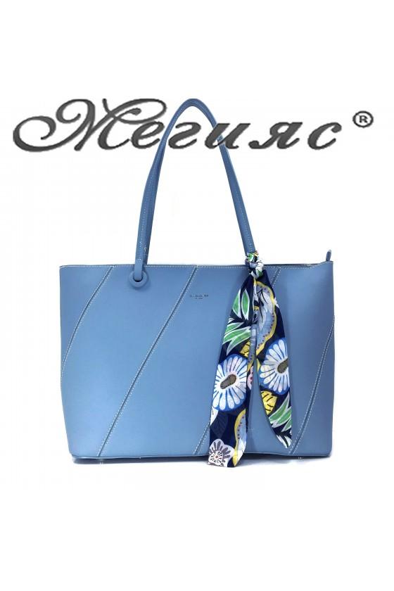 5911 Дамска чанта спортно-елегантна синя еко кожа