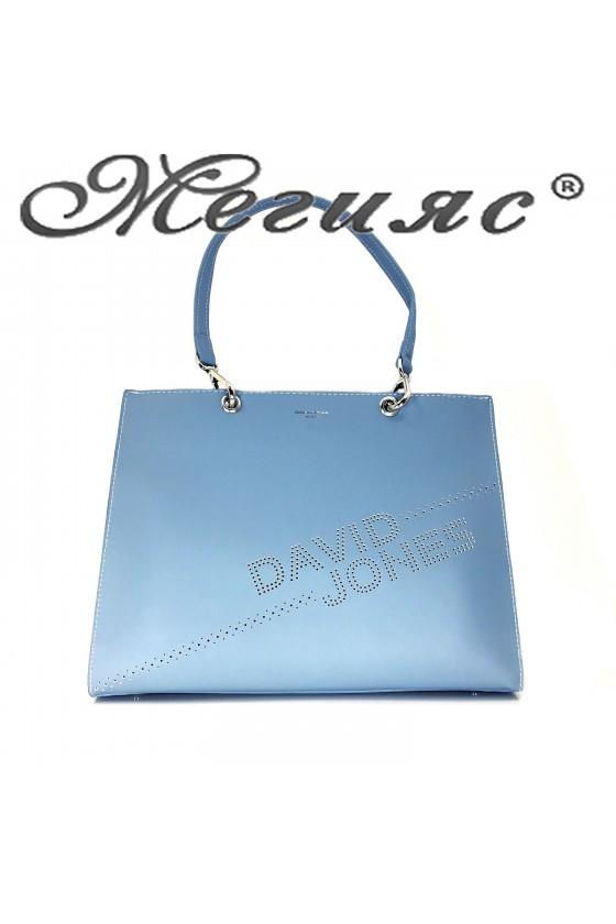 6223 Дамска чанта спортно-елегантна синя еко кожа