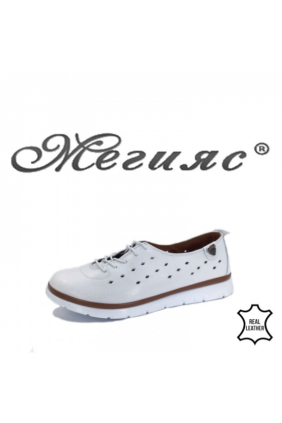035 Lady shoes white leather