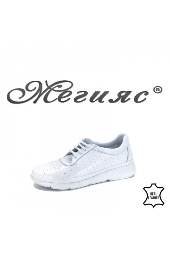 Дамски обувки спортни естествена кожа  бели  02