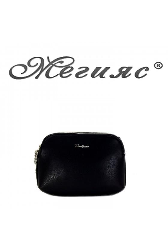 6508 Малка дамска чанта черна от еко кожа