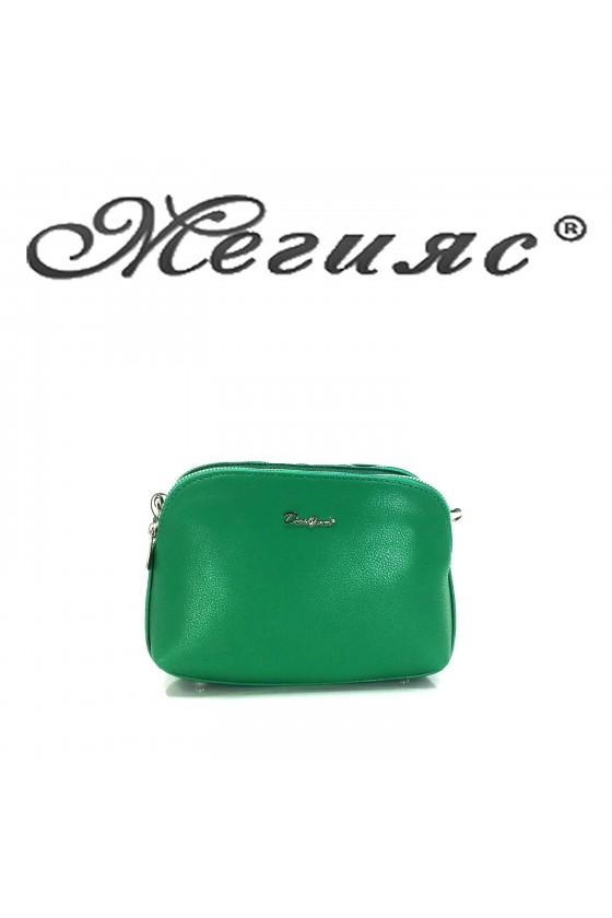 6508 Малка дамска чанта зелена от еко кожа