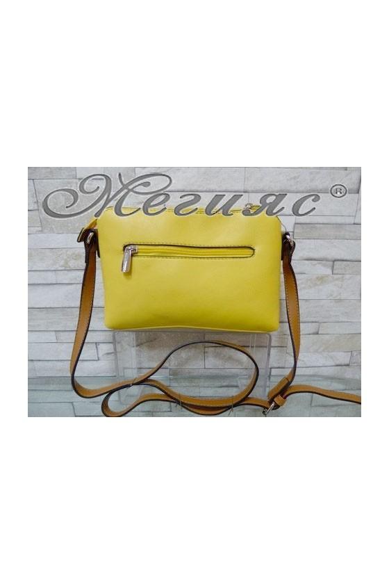 5788 Дамска спортно-елегантна чанта жълта еко кожа с дълга дръжка