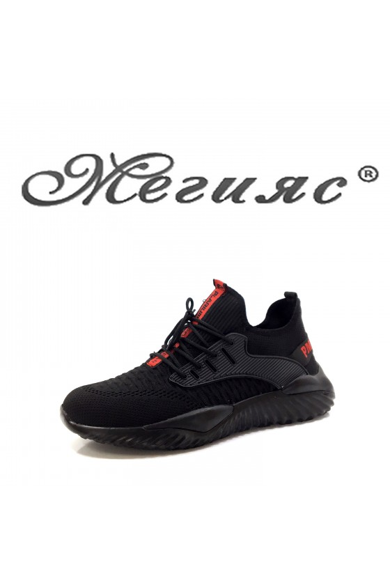 085 Мъжки спортни обувки черен текстил