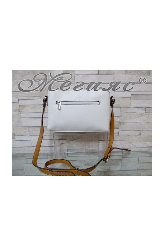 5788 Дамска спортно-елегантна чанта бяла еко кожа с дълга дръжка