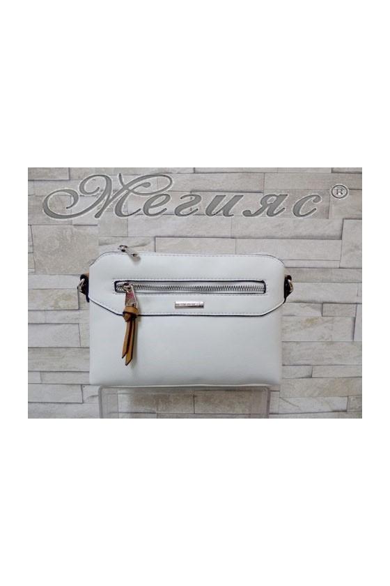 Малка дамска чанта бяла еко кожа с дълга дръжка 5788