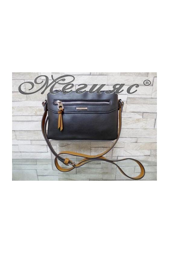 5788 Дамска спортно-елегантна чанта черна еко кожа с дълга дръжка