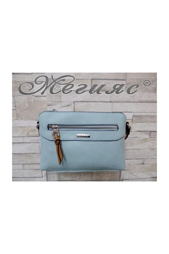 5788 Дамска спортно-елегантна чанта светло синя еко кожа с дълга дръжка