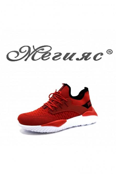 085 Мъжки спортни обувки червен текстил