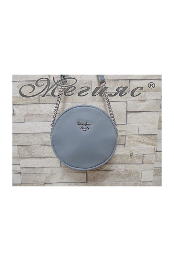 5969 Дамска спортно-елегантна чанта светло синя eко кожа с дълга дръжка