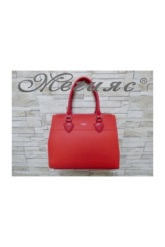 5606 Дамска чанта спортно-елегантна червена еко кожа