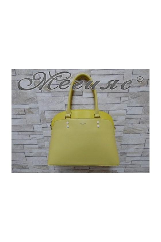 5640 Дамска чанта спортно-елегантна жълта еко кожа